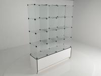 Витрина стеклянная (16 ячеек) 1680*450*2140 бел/черн