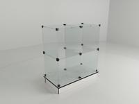 Прилавок стеклянный (4 ячейки) 850*450*900 бел/чер