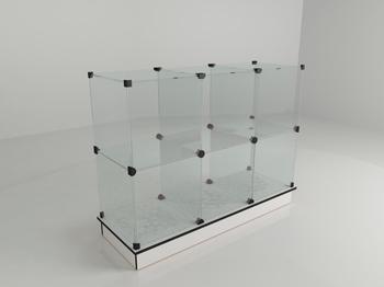 Прилавок стеклянный (6 ячеек) 1260*450*900 бел/чер