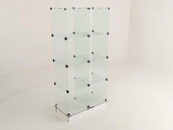 Витрина стеклянная (8 ячеек) 850*450*1750 бел/черн