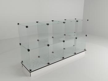 Прилавок стеклянный (8 ячеек) 1680*450*900 бел/чер
