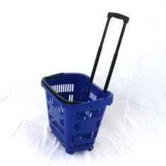 Корзина-тележка на 2-х колесах пластиковая 34 л