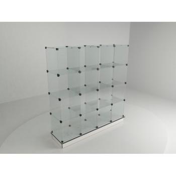 Витрина стеклянная (16 ячеек) 1680*450*1750 бел/черн