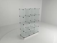 Витрина стеклянная (12 ячеек) 1260*450*1750 бел/черн